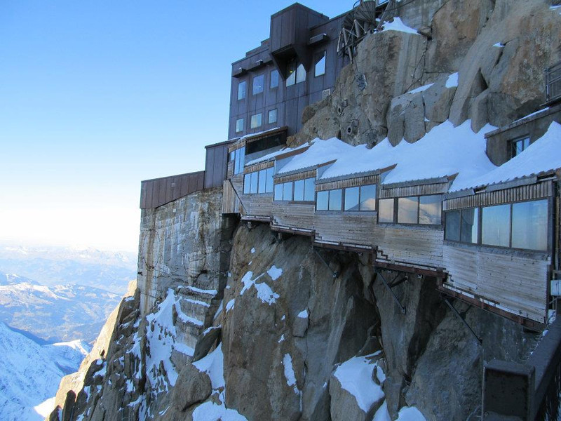You have to climb those enclosed stairs to catch the cable car back down - Aiguille du Midi, Mont Blanc France