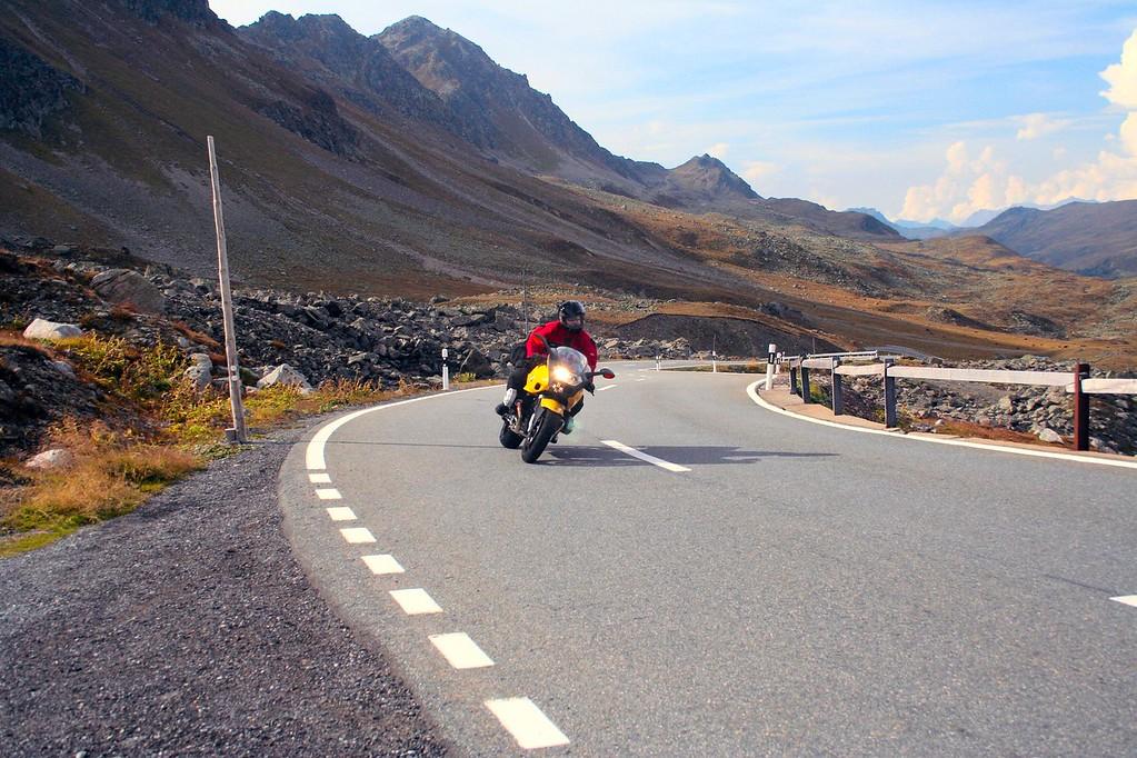Moto enjoying the western side of the Fluela Pass Road - Switzerland