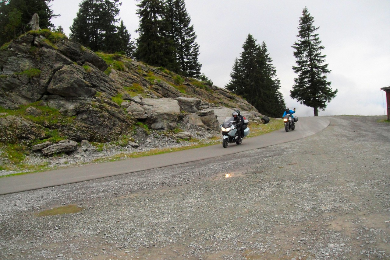 Cresting the west side of the Pragel Pass - off limits to motorcycles on the week ends