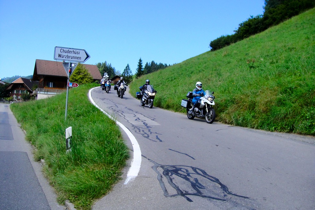 First tour day - switchback practice outside of Steffisburg Switzerland