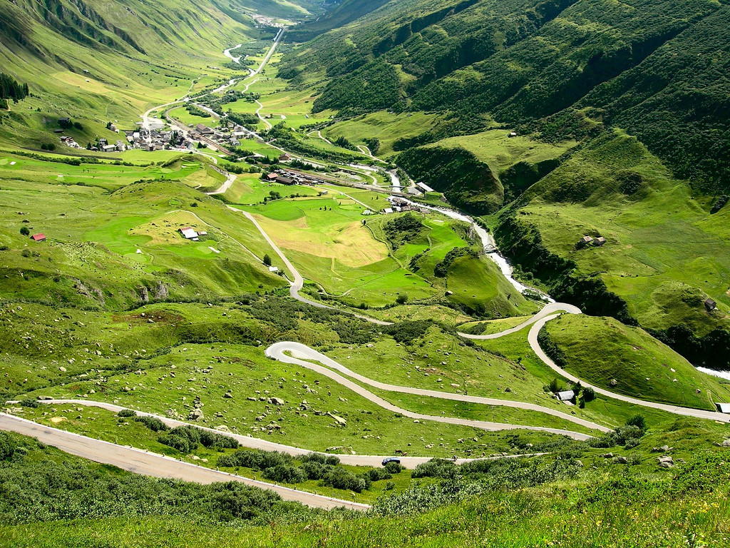 Here is another view of the Furka Pass road looking back towards Andermatt Switzerland