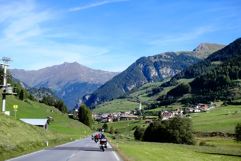 Valley road in Austria heading for the Piller Hohe