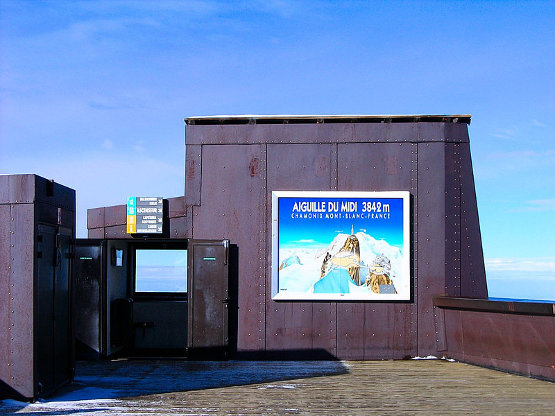 The sign says it all - simply spectacular.  The highest cable car on the highest mountain in the Alps, Aiguille di Midi, Mont Blanc, France
