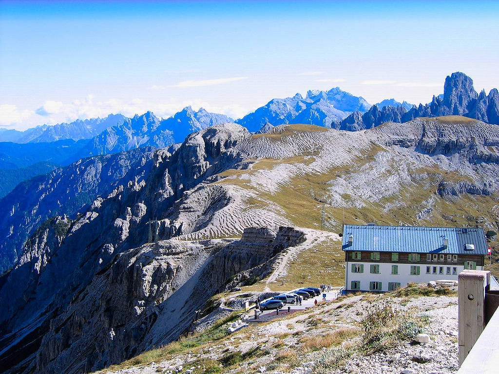 The top of Drei Zinnen, great carbonara and a great view, Dolomites - Italy