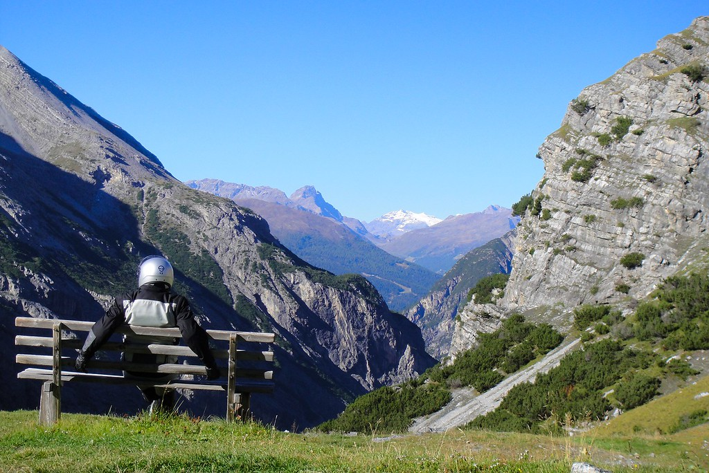 Just for Moto-Charlie tour members, special viewing bench - Stelvio Pass Italy