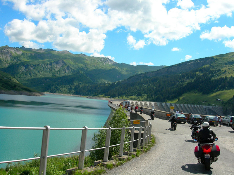 Heading over the dam to start the Col du Pre - France