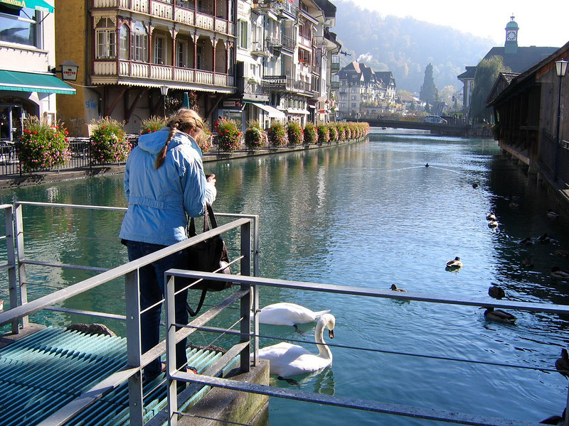 Our home base in Thun Switzerland is a very pretty place to relax and sight see - Aare river