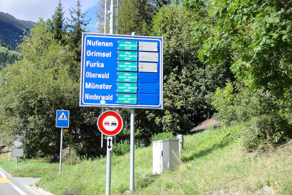 This sign shows why the Andermatt region is a pass Mecca for motorcyclists - Switzerland