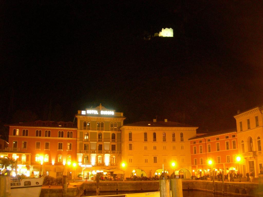 Night life on the water in Riva del Garda, Italy