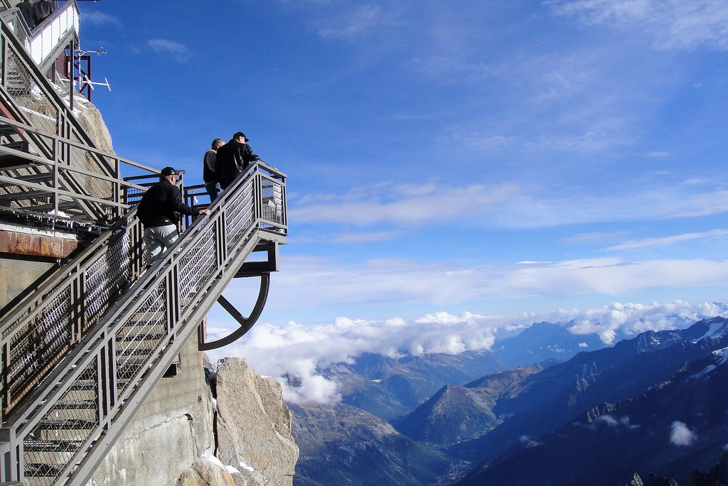 Climbing the observation deck, Aiquille di Midi - Mont Blanc France