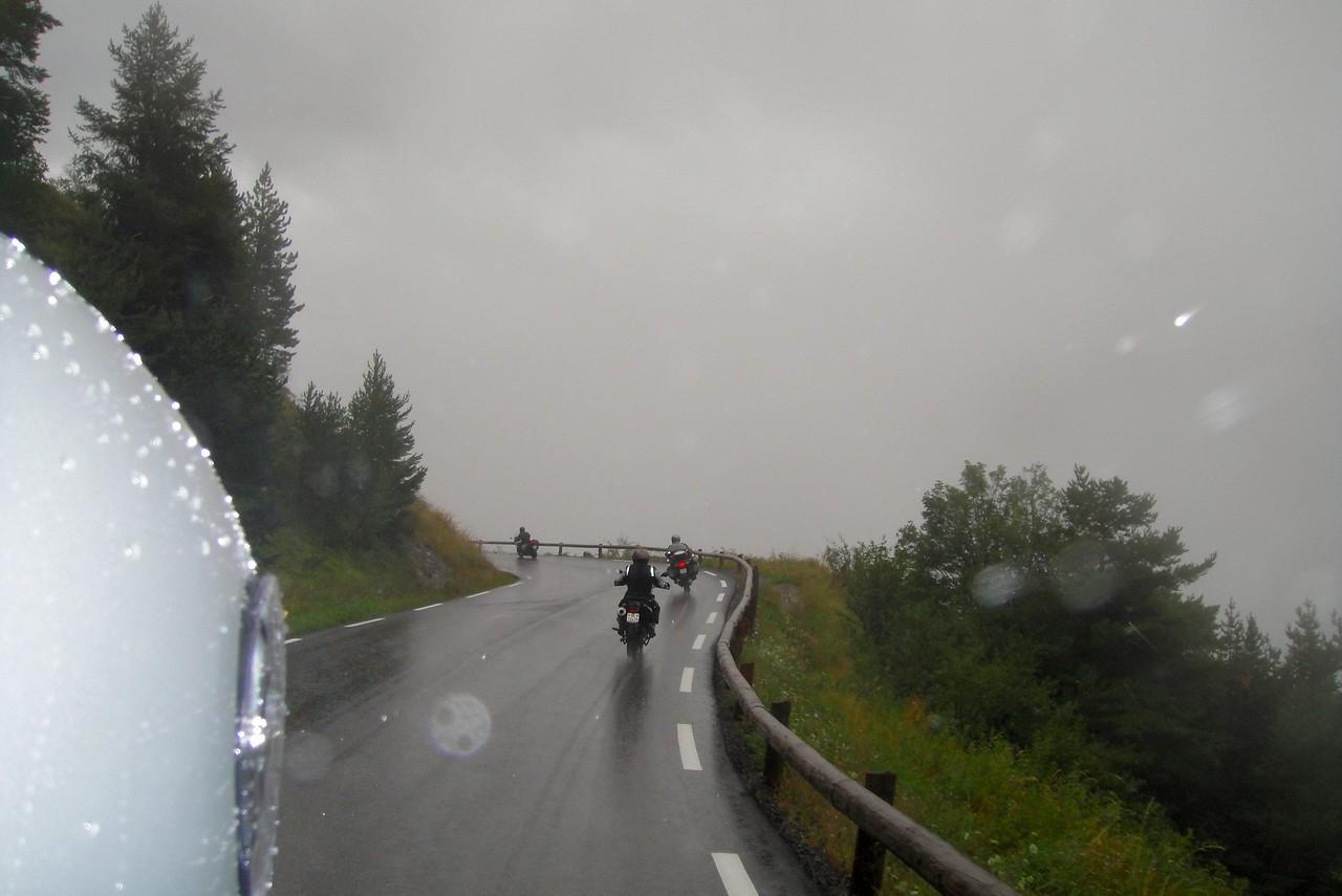 Good riders, good gear, rain no problem - Col du Restefond road France