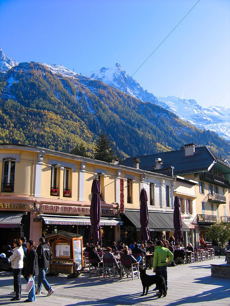 The town of Chamonix where we catch the cable car to the top of the Aiguille du Midi and Mont Blanc in the background