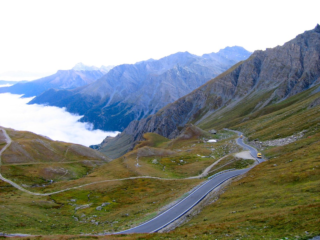 The road starting down the east side of the Col Agnel on the Italian side