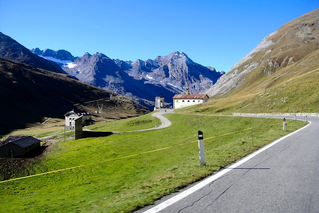 We turned right and headed down the south side of the Stelvio Pass - Italy