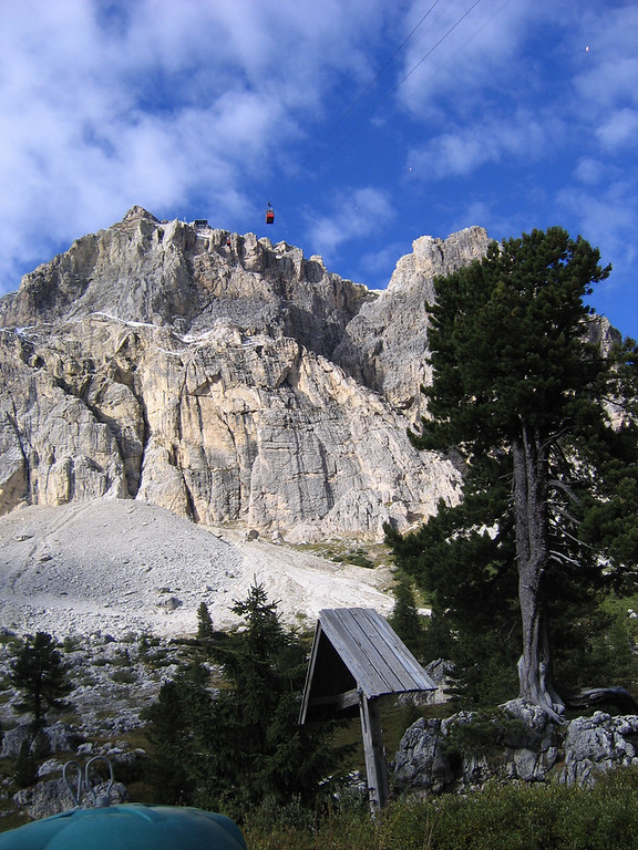 This lift starts right from the base of the Passo di Falzarego, Dolomites Italy
