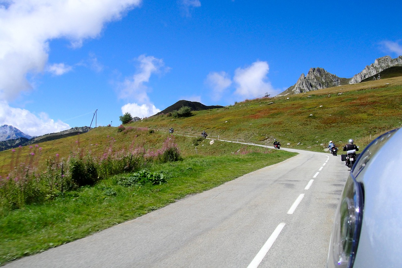 A beautiful sunny day on the way up to the Col de la Madeleine France