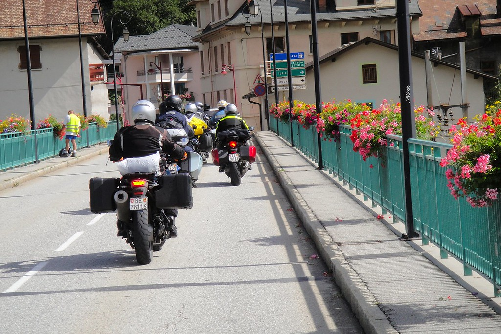 Crossing the river through the village of Valloire France
