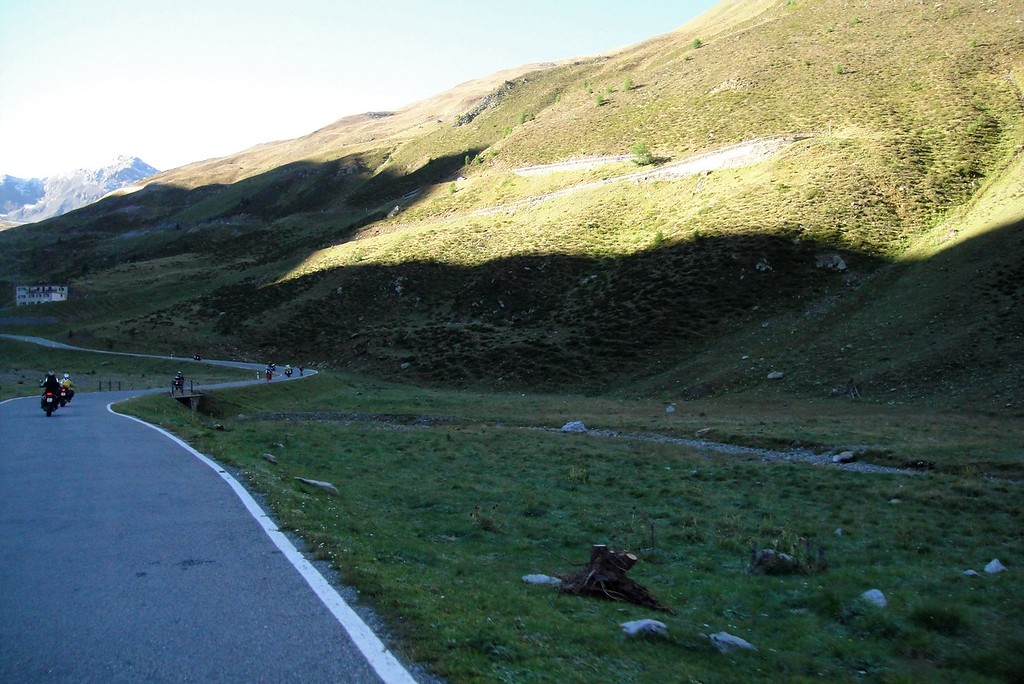 Near the top of the Umbrail Pass and back onto tar - Switzerland