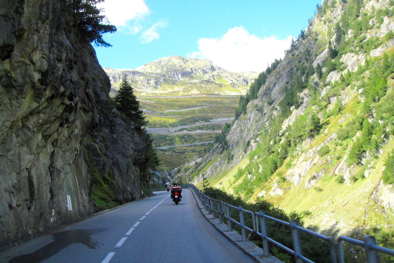 Approaching Gletsch where we start up the Grimsel pass above it - Switzerland