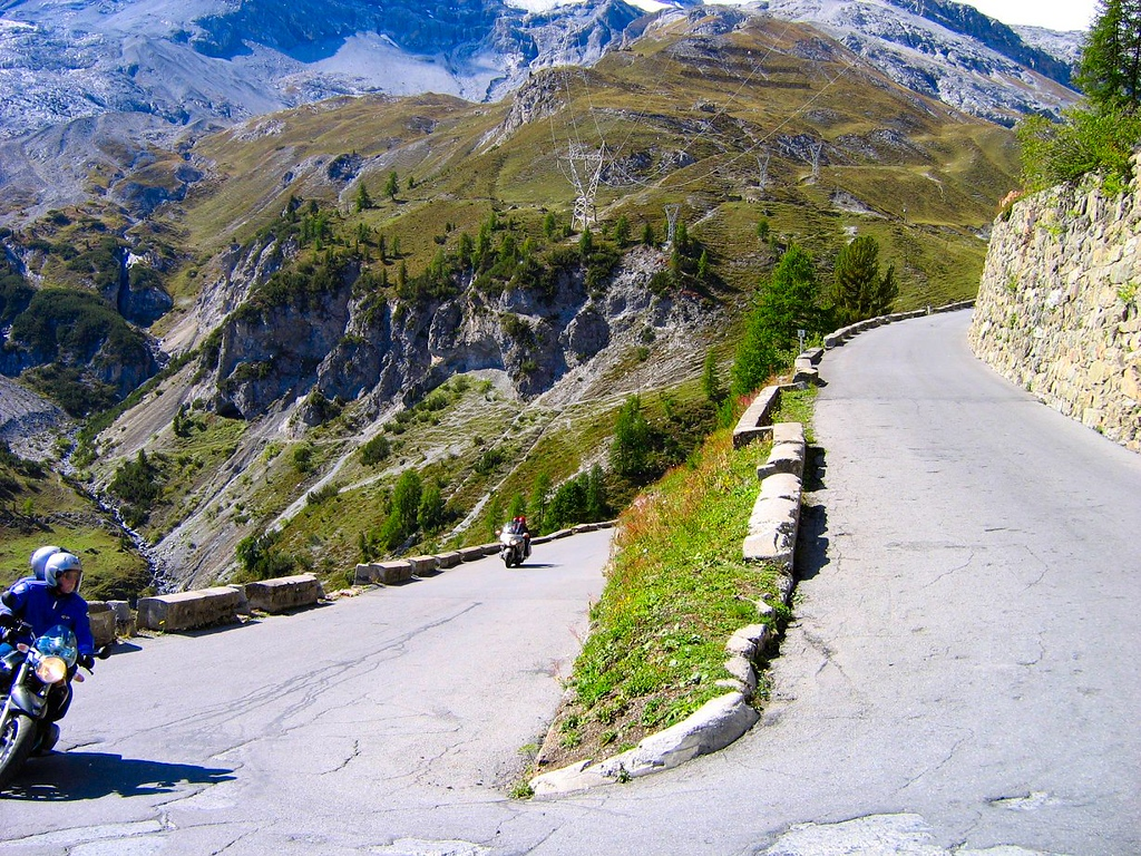 Northside switchbacks on the Stelvio Pass can be a little bumpy - this one's not too bad