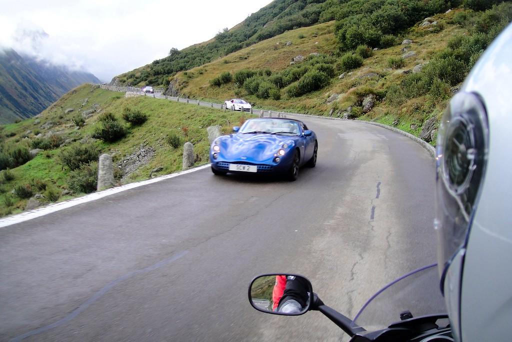 Ferraris look good in blue too - Furka Pass Switzerland