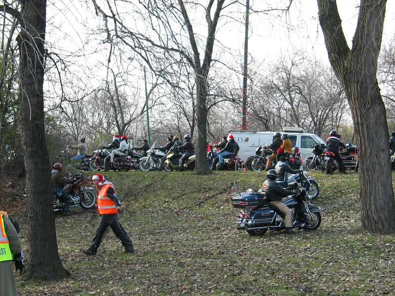 Harleys doing a min-hillclimb