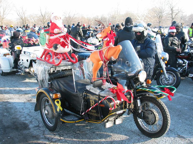Sidecar with santa and reindeer