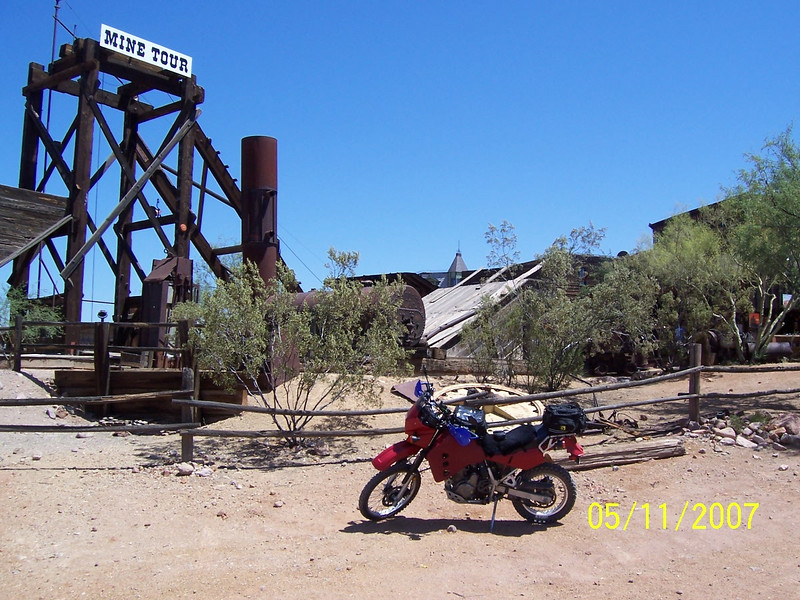 I decided to ride the Apache Trail near Phoenix. The start was a 2 hr ride from Tucson. Here I am at the Goldfield Mine Station near Lost Dutchman State Park.