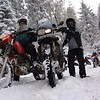 BMW 800GS in the snow on the Senator Highway between Prescott and Crown King.