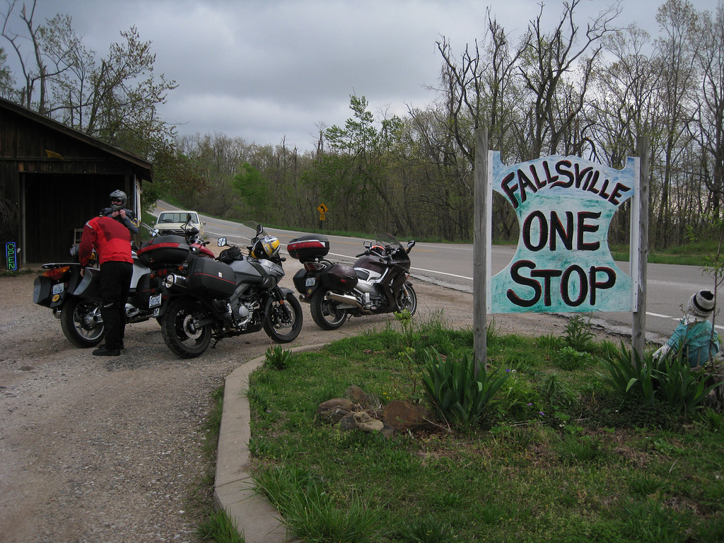 Fallsville One-Stop.  Great place to stop for a rest and grab a snack.  Just don't try to flush the toilet.