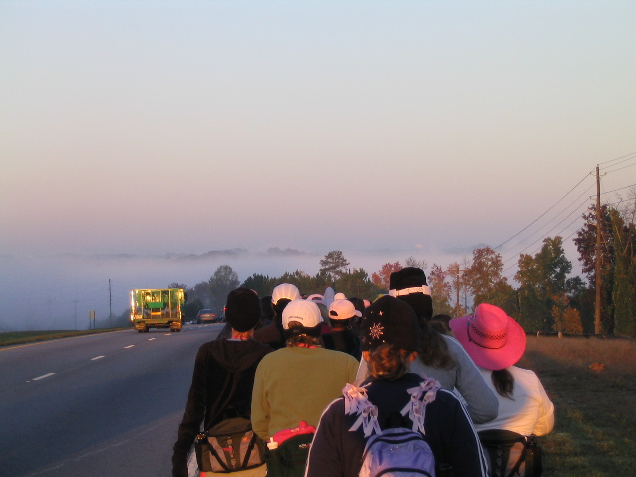 Walking into fog.  Sunrise