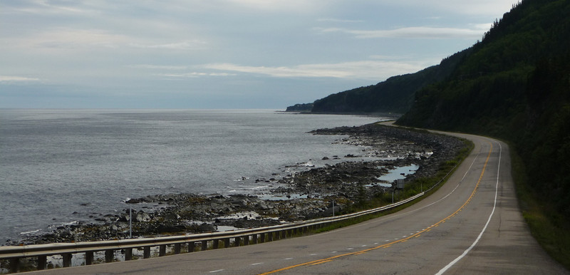 Coastal road along Gulf of St. Lawrence heading out to Eastern end of Gaspe Peninsula