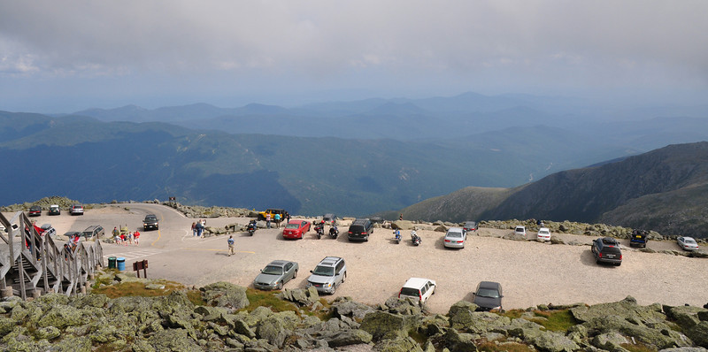 Mt. Washington summit parking lot and view to the SE...on a clear moment.