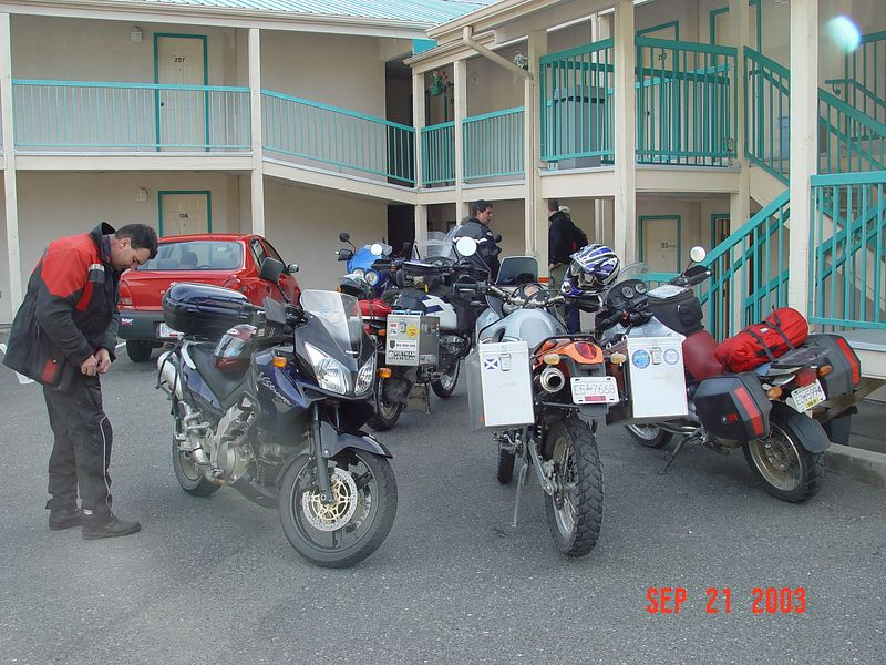 34 Our bikes in front of the motel