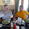 Lunch discussing a great ride with broken spoke Mike in Twisp