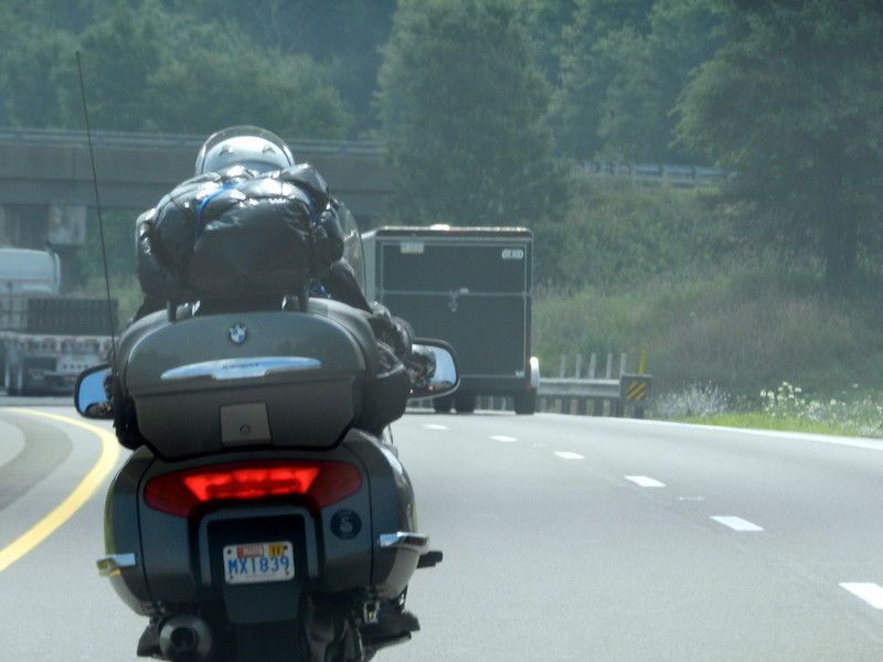 A rider on the way to the rally in Ohio.