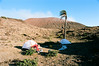 Campsite in the crater of an active volcano in Nicaragua.