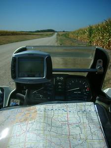 Gravel road and cornfield in Missouri.
