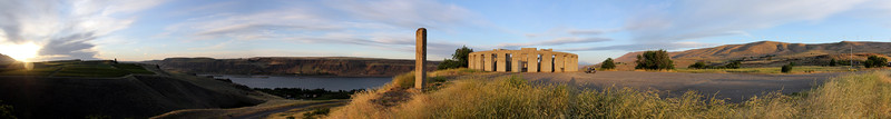 On my ride south to John Day, I spent the night at Deschutes River campground.  Up and on my way early, I stopped up at the Stonehenge memorials above Maryhill, WA. to watch the sunrise.