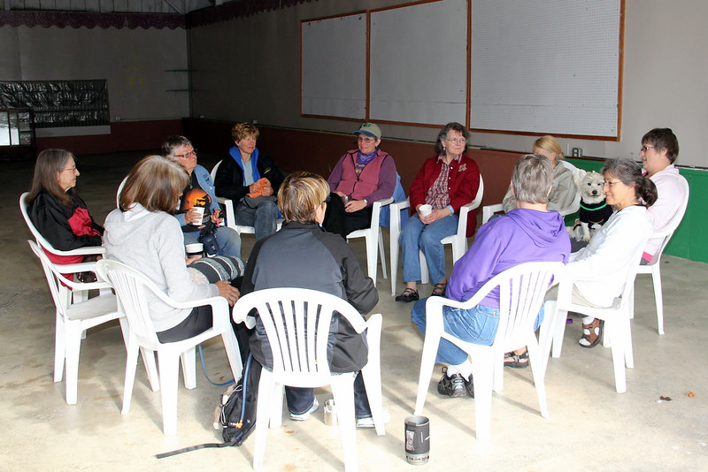 "Peggy Zander led a ladies discussion group Saturday morning called ""Mug and Muffin"""