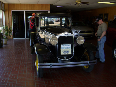 Nice Model A at the Ford dealer across from the Busy Bee.