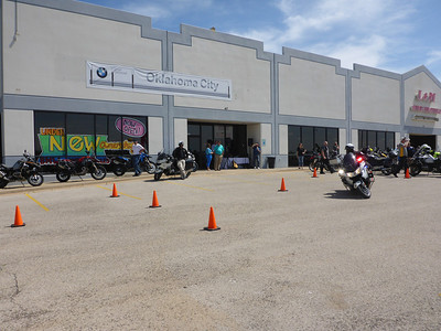 Arrival at BMW Motorcycles of Oklahoma City.  The Edmond, OK Motor Cops were demonstrating their skills on the R1200RTPs.