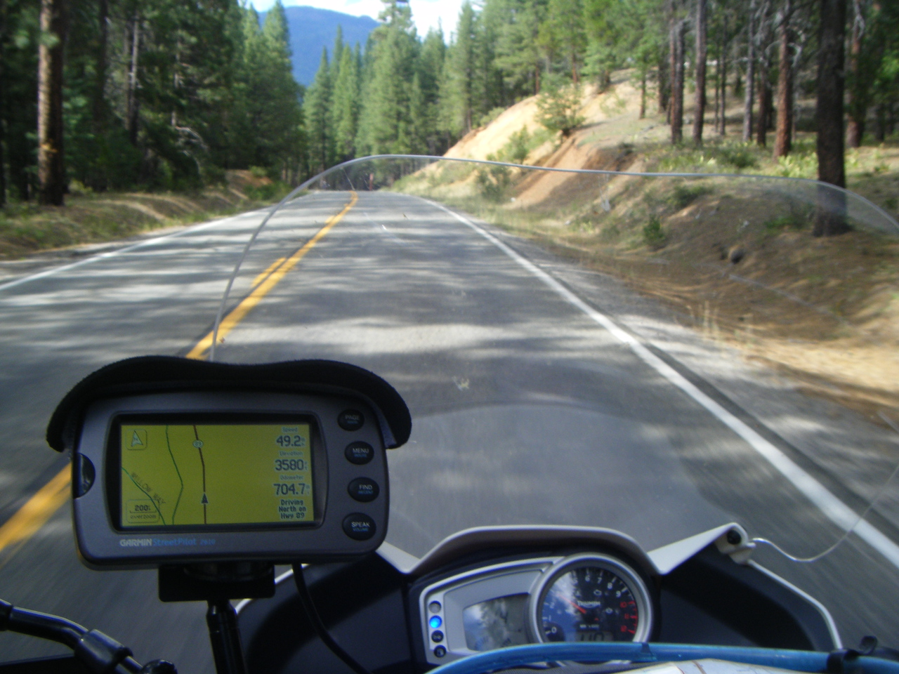 GPS shot in the woods now heading to Lassen on 89