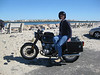 Here is the same bike in touring configuration. Basically, I just switch to a touring saddle (a 5 minute operration) and add a tank bag.  This is my wife during a trip to eastern Long Island. The bike ran like a charm.