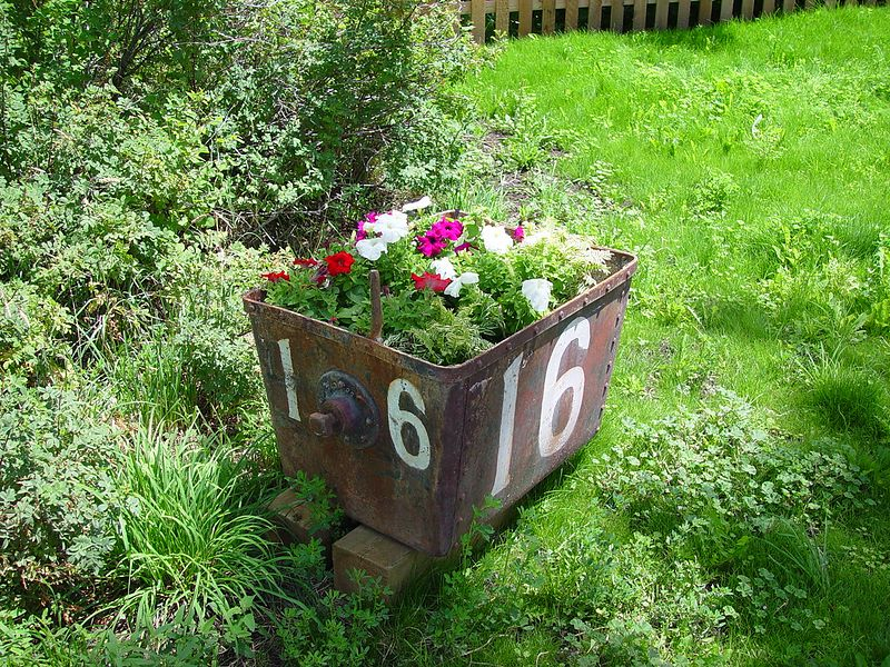 Neat flower pot made from some old ore car,