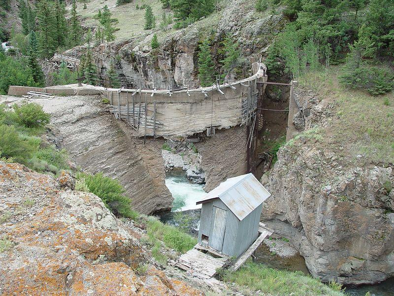 Old dam near a mine below Engineer Pass.