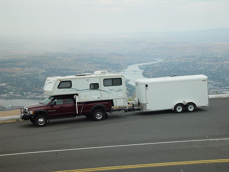 This is my truck,camper and trailer.  I am parked at the top of the Lewiston Grade.
