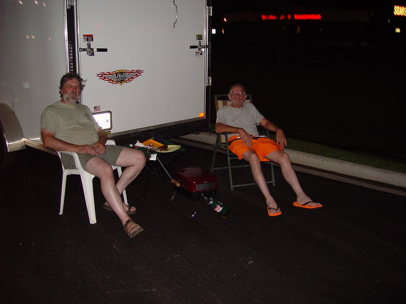 Dave and Don, camping in the Walmart parking lot in Montrose Colorado.
