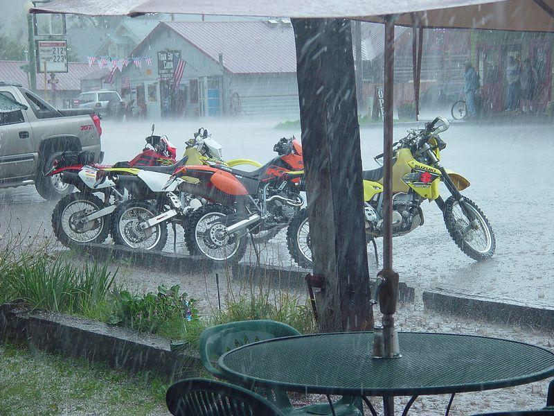 The rain turned to hail.