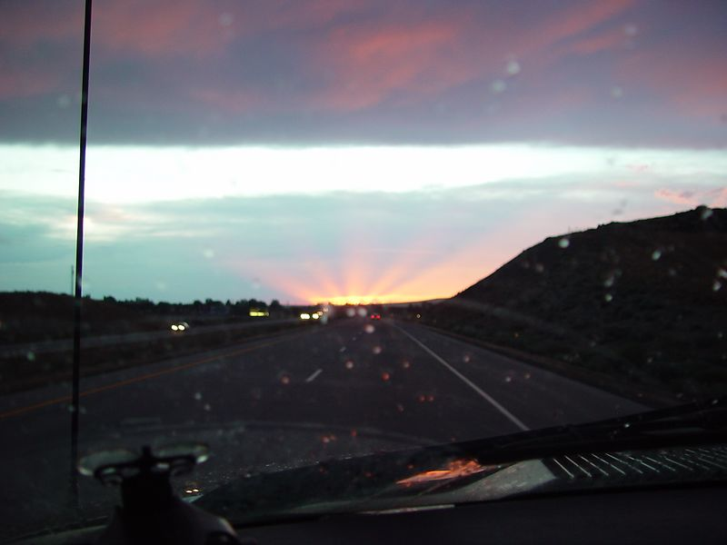 Sunset going into Boise Idaho.